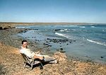 Here I am kicked back at Punta Abreojos, its one of my favorite places. The road in is a bit tough on the rig and there are rumors of them paving the road to it but I hope they don't . upd ...